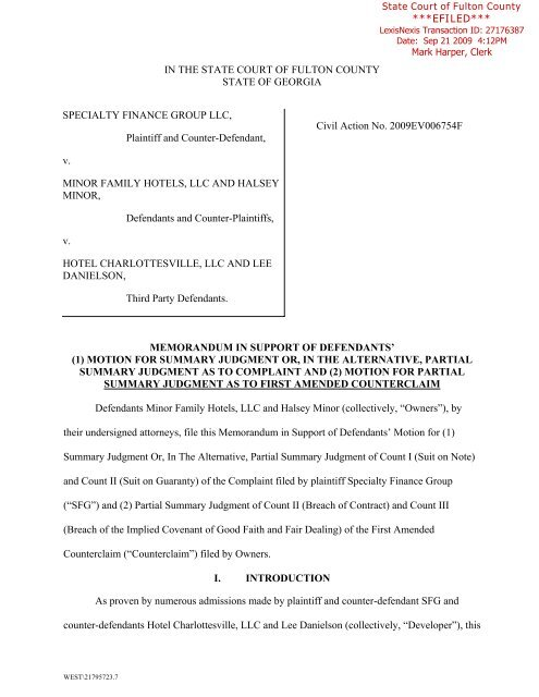 Motion for Summary Judgment - The Hook