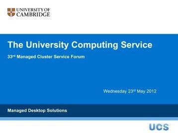MCS File store - University of Cambridge Computing Service