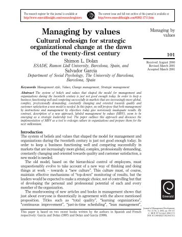 Managing by values - Emerald