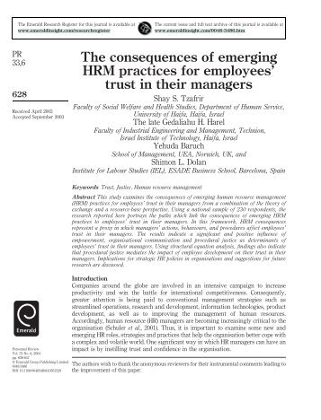 The consequences of emerging HRM practices for employees' trust ...