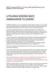 lithuania sending back ambassador to vienna - Defending History