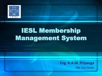 IESL Membership Management System - The Institution of ...