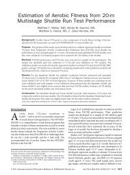 Estimation of Aerobic Fitness from 20-m Multistage ... - Cooper Institute