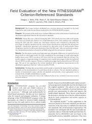Field Evaluation of the New FITNESSGRAM ... - Cooper Institute