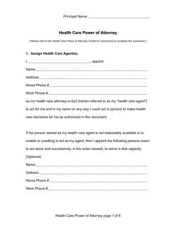 North Carolina Health Care Power Of Attorney Form