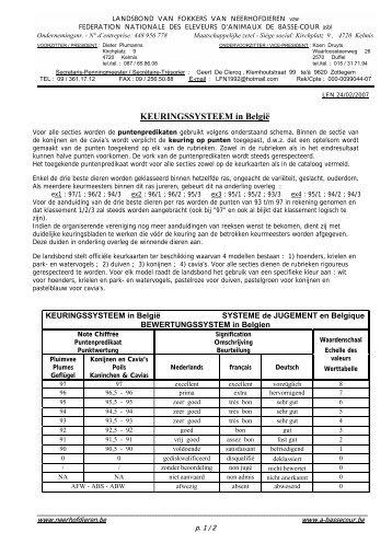 Keuringssysteem - Belgische Landsbond van Neerhofdieren