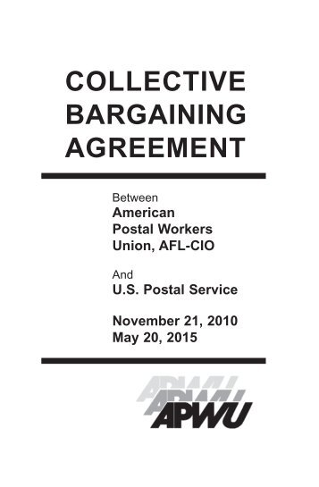 Apwu Usps 2010 2015 Collective Bargaining Agreement