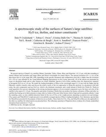 A spectroscopic study of the surfaces of Saturn's large satellites ...