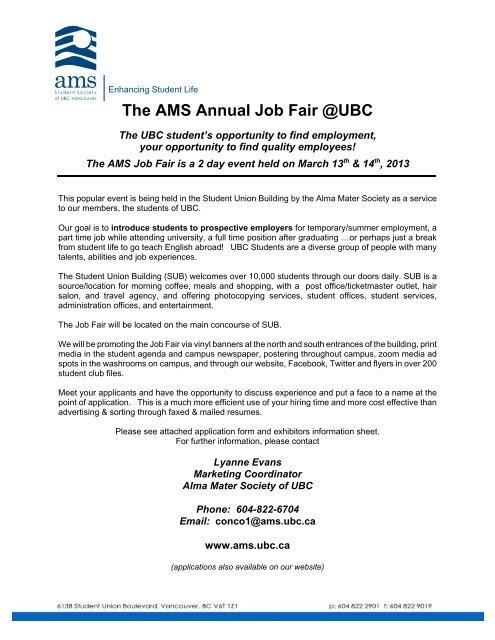 Job Fair Application Form - Alma Mater Society of UBC