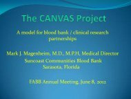 The CANVAS Project A Model for Blood Bank Clinical Practice ...