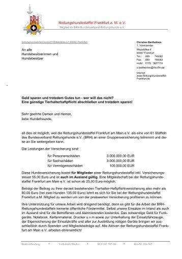 Versicherung komplett NEU - Rettungshundestaffel Frankfurt