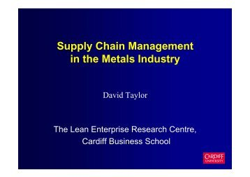 Lean Manufacturing and Supply Chain Management - P2005