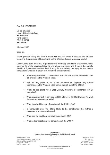 Our Ref: PP/AM/C20 Mr Ian Shanks Head of Scottish Affairs BT ...