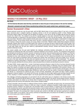 WEEKLY ECONOMIC BRIEF – 24 May 2013 Senior ... - LGsuper