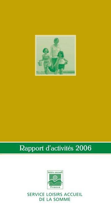 Rapport d'activités 2006 - Somme Tourisme