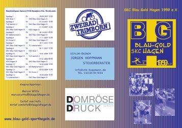 Presseflyer zur Saison 2007/08 - Blau Gold Germania Hagen