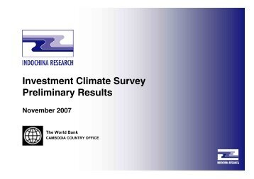 Investment Climate Survey Preliminary Results - ACLEDA Bank Plc.