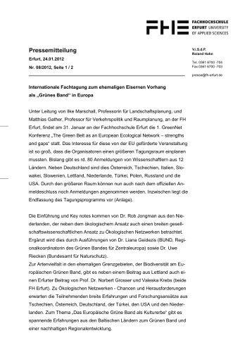 Internationale Fachtagung zum ehemaligen ... - GreenNet Project