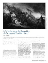 S. T. Lee Lecture in the Humanities: On Writing and Teaching History