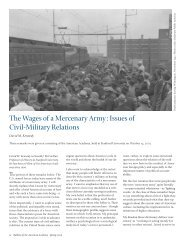 The Wages of a Mercenary Army: Issues of Civil-Military Relations