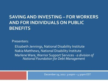 saving and investing - National Disability Institute