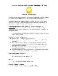 Coventry High School Summer Reading List 2008