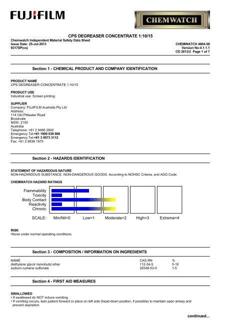 cps degreaser concentrate 1:10/15 - FUJIFILM Australia