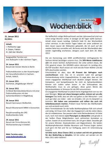 Wochenblick 01/2011 - Jens Bullerjahn