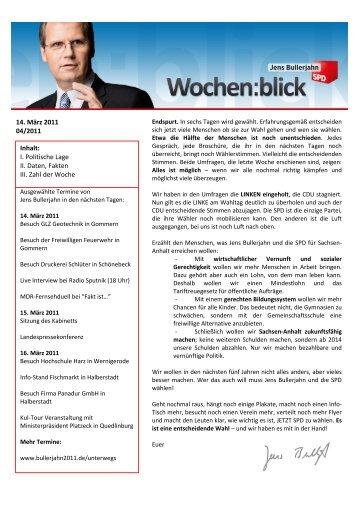 Wochenblick 04/2011 - Jens Bullerjahn