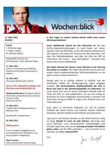 Wochenblick EXTRA 05/2011 - Jens Bullerjahn