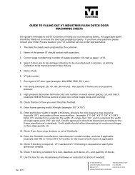 Flush Dutch Door Machining Sheet Guide - VT Industries Inc