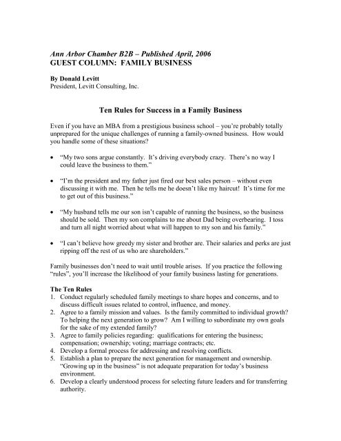 FAMILY BUSINESS Ten Rules for Success in a     - Levitt