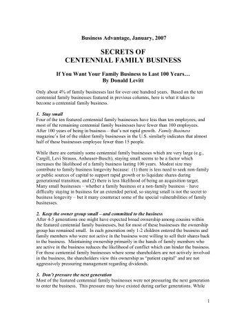 secrets of centennial family business - Levitt Consulting, Inc