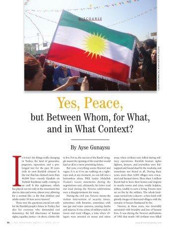 Yes, Peace, - Armenian Weekly