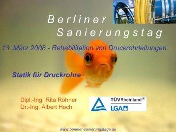 Schadensbilder bei Druckrohren - Berliner Sanierungstage