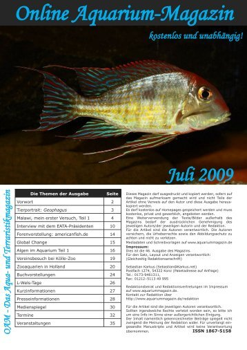 OAM Ausgabe Juli 2009 - Online Aquarium-Magazin