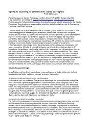 Il posto del counseling nel panorama delle scienze psicologiche. Di ...