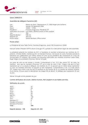 STT – Assemblée des délégués (AD) Automne 2009 ... - CTT ZZ-Lancy