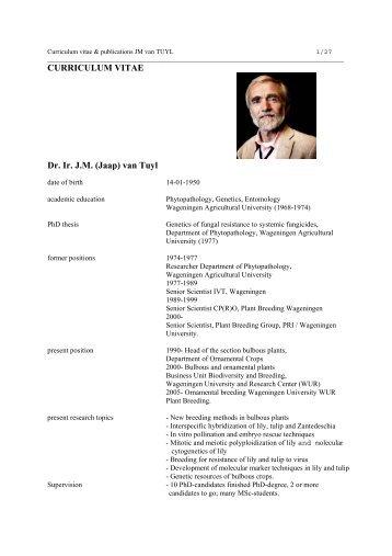 curriculum vitae - The Lilium information page