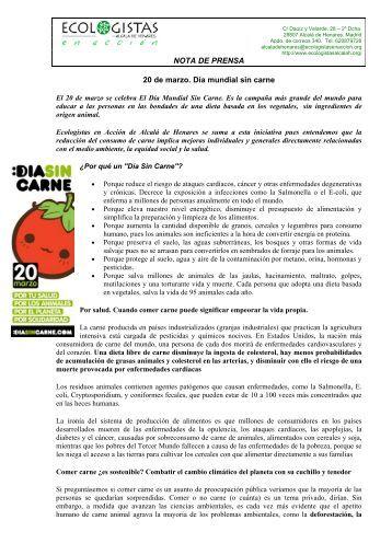 Día Mundial Sin Carne - Ecologistas en Acción