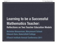 Learning to be a Successful Mathematics Teacher: - The UTeach ...