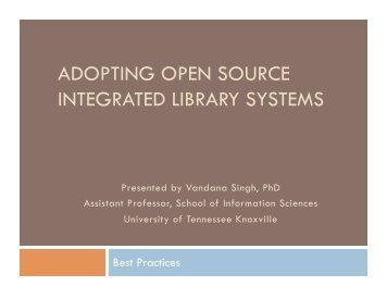 adopting open source integrated library systems - Open Source ILS