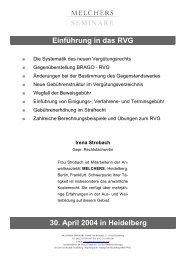 Einführung in das RVG - Melchers
