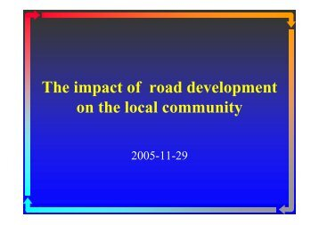 The impact of road development on the local community - RCSD