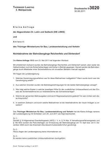 5. Wahlperiode Drucksache 5/3020 30.06.2011 ... - Dr. Gudrun Lukin