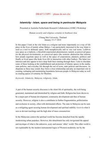 DRAFT COPY – please do not cite Islamicity - Islam, space ... - RCSD
