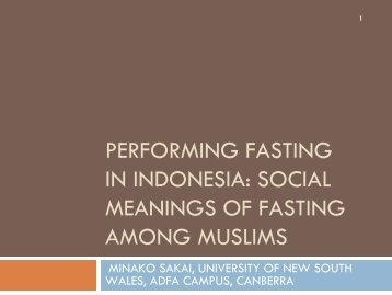 peRFORMING FASTING IN INDONESIA: SOCIAL ... - RCSD