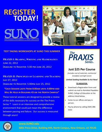 REGISTER TODAY! - Southern University New Orleans