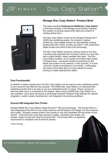 Rimage Disc Copy Station* Product Brief - array Data Praha