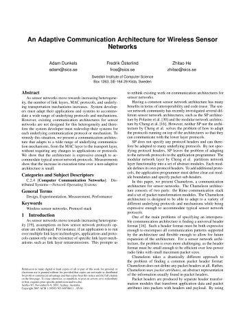 An Adaptive Communication Architecture for Wireless Sensor ...